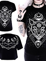 cheap -Inspired by Cosplay Cat Cosplay Costume T-shirt Polyester / Cotton Blend Cat Printing T-shirt For Men's / Women's