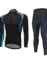 cheap -Men's Long Sleeve Cycling Jersey with Tights Winter Elastane White Black Bike Sports Clothing Apparel