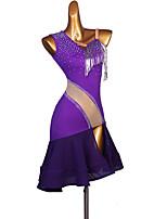 cheap -Latin Dance Dress Glitter Split Joint Bandage Women's Training Performance Sleeveless Natural Chinlon Chiffon Tulle