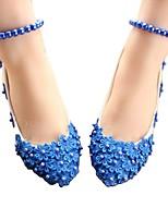 cheap -Women's Wedding Shoes Chunky Heel Round Toe Wedding Walking Shoes PU Pearl Floral Blue