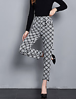 cheap -Women's Sporty Breathable Daily Harem Pants Pants Plaid Checkered Full Length Drawstring Print White Black