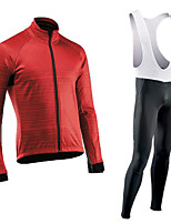 cheap -Men's Long Sleeve Cycling Jersey with Bib Tights Cycling Jersey with Tights Winter Elastane Blue / Black Black Red Bike Sports Clothing Apparel
