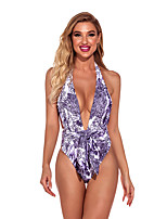 cheap -Women's New Sexy Lady One Piece Swimsuit Open Back Print Padded Normal Plunge Swimwear Bathing Suits White /Tattoo