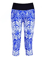 cheap -Women's Basic High-Waisted Comfort Daily Gym Flare Leggings Pants Patterned Calf-Length Patchwork Print Blue