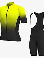 cheap -Men's Short Sleeve Cycling Jersey with Bib Shorts Elastane Black / Yellow Bike Sports Clothing Apparel