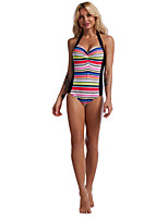cheap -Women's New Cute Sweet Romper Swimsuit Abstract Stripe Racerback Open Back Print Halter Padded Normal Strap Swimwear Bathing Suits Rainbow /One Piece / Tattoo