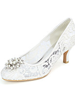 cheap -Women's Wedding Shoes Kitten Heel Round Toe Minimalism Wedding Party & Evening Lace Rhinestone Pearl Floral White Black Pink