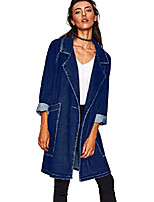 cheap -Women's Notched Lapel Long Denim Blazer Jacket Coat (Free Size, Dark Blue)