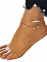 cheap -Double-Layer Star Pendant Foot Chain Sandal Beach Barefoot Anklet for Women Girls, Gold Color