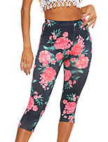 cheap -Women's Stylish Streetwear Breathable Comfort Quick Dry Sport Yoga Leggings Pants Graphic Floral Calf-Length Floral Print Navy Blue