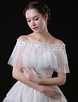 cheap -Sleeveless Shawls Tulle Wedding / Party / Evening Shawl & Wrap / Women's Wrap With Faux Pearl / Crystal / Rhinestone