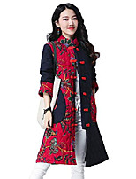 cheap -Women's Floral Padded Cotton Jacket Ethnic Retro Midi Printed Coat Parkas (X-Small, Wine)