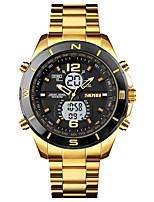 cheap -SKMEI Men's Sport Watch Digital Sporty Outdoor Calendar / date / day Analog - Digital Black / Silver Black+Gloden White+Golden / One Year / Stainless Steel