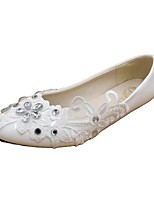 cheap -Women's Wedding Shoes Flat Heel Round Toe Wedding Walking Shoes PU Rhinestone Lace Floral White