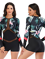 cheap -Women's Rash Guard Dive Skin Suit One Piece Swimsuit Elastane Swimwear Breathable Quick Dry Long Sleeve Back Zip - Swimming Surfing Water Sports Painting Patchwork Autumn / Fall Spring Summer