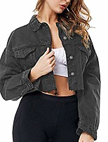 cheap -Women's Short Denim Jacket Button Up Cropped Splice Long Sleeve Lapel Frayed Washed Jean Jackets Pockets
