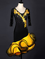 cheap -Latin Dance Dress Cascading Ruffles Crystals / Rhinestones Women's Training Performance 3/4 Length Sleeve Natural Elastane Organza