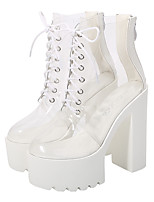 cheap -Women's Boots Chunky Heel Round Toe Booties Ankle Boots Classic Daily PU Solid Colored Clear / Booties / Ankle Boots