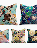 cheap -Cushion Cover 5PC Linen Soft Decorative Square Throw Pillow Cover Cushion Case Pillowcase for Sofa Bedroom 45 x 45 cm (18 x 18 Inch) Superior Quality Machine Washable Colorful Lotus
