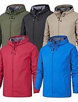 cheap -Men's Hoodie Jacket Hiking Softshell Jacket Hiking Windbreaker Outdoor Waterproof Lightweight Windproof Breathable Jacket Top Fishing Hiking Climbing Black Red Army Green Dark Gray Orange / Quick Dry