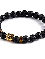 cheap -Deal Handmade Tibetan Natural Stone Men's Bracelets (Black Stones) | Stretchable Power Beads Bracelet for Men