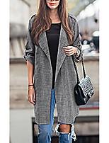 cheap -Women's Coats & Jackets Plaid / Check Classic Elegant & Luxurious Fall Notch lapel collar Trench Coat Long Causal Long Sleeve Poly&Cotton Blend Coat Tops Dark Gray