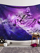 cheap -Wall Tapestry Art Decor Blanket Curtain Hanging Home Bedroom Living Room Decoration Polyester Purple Kitten Soars In The Universe