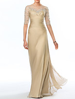cheap -Sheath / Column Empire Elegant Wedding Guest Formal Evening Dress Illusion Neck Half Sleeve Floor Length Taffeta Tulle with Crystals 2020