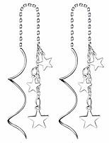 cheap -Silver Sweet Little Mini Star Shape Earrings Needle Drop Threader Pull Through Tassel Dangle Curve Twist Pretty Earrings for Women's Gift (White)