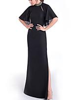 cheap -Sheath / Column Empire Elegant Wedding Guest Formal Evening Dress High Neck Half Sleeve Floor Length Chiffon with Split 2021