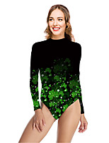 cheap -Women's New Vacation Sexy One Piece Swimsuit Floral Leaf Tummy Control Print Bodysuit Normal High Neck Swimwear Bathing Suits Green / Party