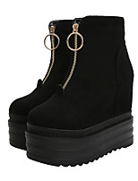 cheap -Women's Boots Hidden Heel Round Toe Booties Ankle Boots British Daily Nubuck Solid Colored Black / Booties / Ankle Boots