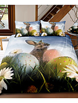 cheap -Easter Bunny 3-Piece Duvet Cover Set Hotel Bedding Sets Comforter Cover with Soft Lightweight Microfiber, Include 1 Duvet Cover, 2 Pillowcases for Double/Queen/King(1 Pillowcase for Twin/Single)