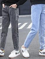 cheap -Kids Girls' Jeans Black Blue Letter Print Basic Black Blue