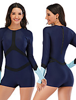 cheap -Women's One Piece Swimsuit Rash Guard Elastane Swimwear Breathable Quick Dry Long Sleeve Back Zip - Swimming Surfing Water Sports Patchwork Autumn / Fall Spring Summer