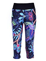 cheap -Women's Basic High-Waisted Comfort Daily Gym Skinny Leggings Pants Graphic Floral Calf-Length Pocket Patchwork Print Blue