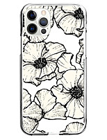 cheap -sketch flower fashion case for apple iphone 12 iphone 11 iphone 12 pro max unique design protective case shockproof back cover tpu