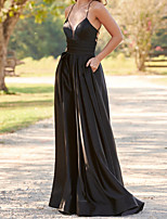 cheap -A-Line Beautiful Back Sexy Engagement Formal Evening Dress V Neck Sleeveless Floor Length Stretch Satin with Pleats Ruched 2020