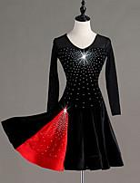 cheap -Latin Dance Dress Glitter Pleats Crystals / Rhinestones Women's Training Performance Long Sleeve Natural Tulle Velvet