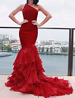 cheap -Mermaid / Trumpet Beautiful Back Sexy Engagement Formal Evening Dress One Shoulder Sleeveless Court Train Spandex with Tier 2021