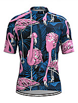 cheap -Men's Short Sleeve Cycling Jersey Blue Floral Botanical Bike Top Mountain Bike MTB Road Bike Cycling Breathable Sports Clothing Apparel / Stretchy / Athletic