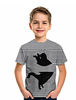 cheap -Kids Boys' Active Cat Graphic 3D Animal Print Short Sleeve Tee Black