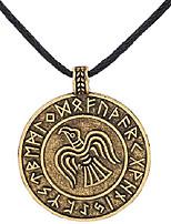cheap -Vintage Nordic Viking Odin's Raven Crow Runes Round Pendant Necklace for Men (antique gold)