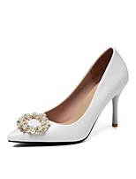 cheap -Women's Wedding Shoes Stiletto Heel Pointed Toe Business Sexy Wedding Party & Evening PU Pearl Solid Colored White Black Red