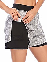 cheap -Women's Athletic Gym Sport 2 in 1 Double Layer with Pocket Shorts for Running Yoga Workout Fitness XS-L - Grey - Large