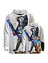 cheap -Family Look Active Graphic Optical Illusion Animal Print Long Sleeve Regular Hoodie & Sweatshirt White