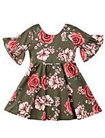 cheap -Little Kids Girls Summer Pleated Off-Shoulder Flower Sling Dress (Army Green, 3-4 Years)