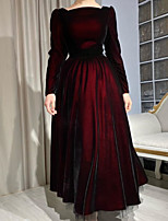 cheap -A-Line Elegant Vintage Wedding Guest Formal Evening Dress Jewel Neck Long Sleeve Ankle Length Tulle with Pleats 2021