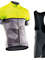 cheap -Men's Short Sleeve Cycling Jersey with Bib Shorts Elastane Grey Bike Sports Clothing Apparel