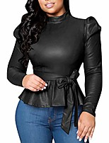 cheap -Women's Matte Mock Neck Turtleneck Long Sleeve Faux Leather Shirts Blouse Top with Belted Black M